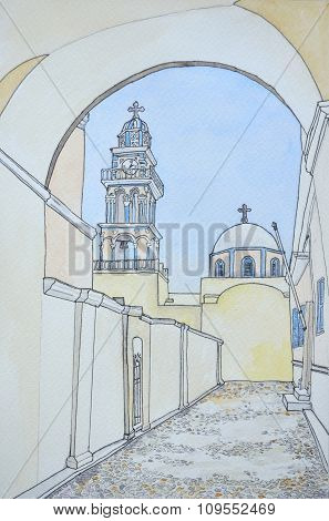 Ink and Watercolour of Bell tower and Dome