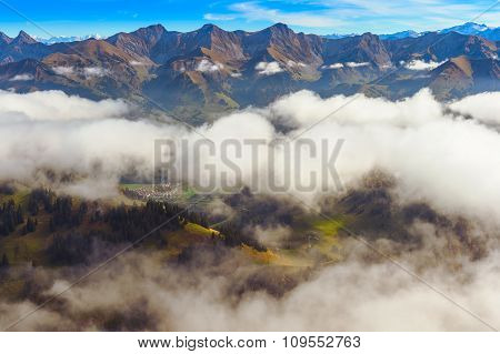 Beautiful alpine landscape, Moleson-sur-Gruyeres, canton of Fribourg, Switzerland