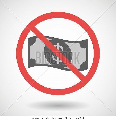 Forbidden Vector Signal With A Dollar Bank Note