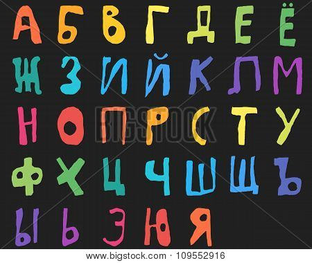 Hand drawn doodle cyrillic alphabet Color