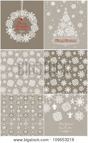Pastel paper wallpaper and greeting card with snowflakes for winter holidays