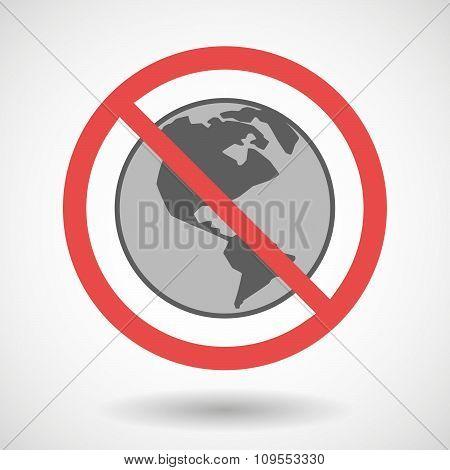 Forbidden Vector Signal With An America Region World Globe