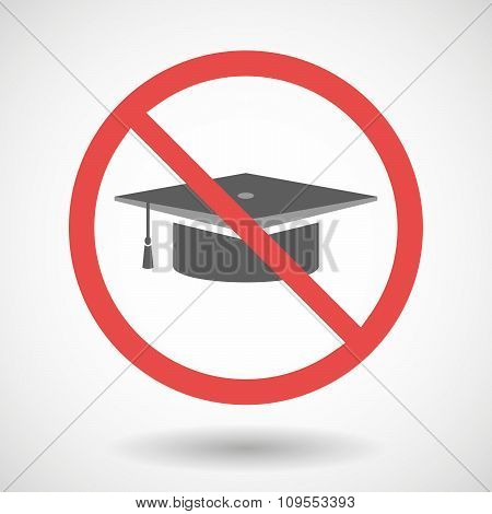Forbidden Vector Signal With A Graduation Cap