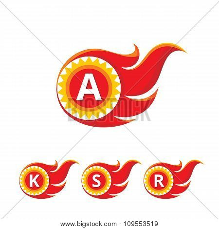 A letter vector logo sign. Flame vector logo sign.