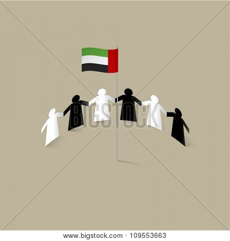 UAE nationals holding hands around national flag. Paper-cut people figures of Emirati couples. Vector illustration.