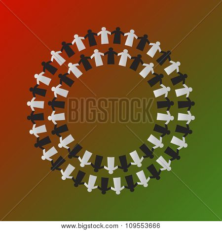 Chain of Emirati citizens - paper-people vector design. Unity and togetherness concept.