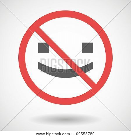 Forbidden Vector Signal With A Smile Text Face