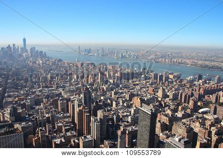 New York Downtown Skyline In Morning Smog