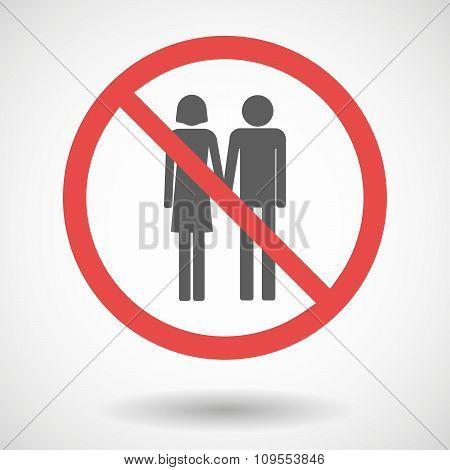 Forbidden Vector Signal With A Heterosexual Couple Pictogram