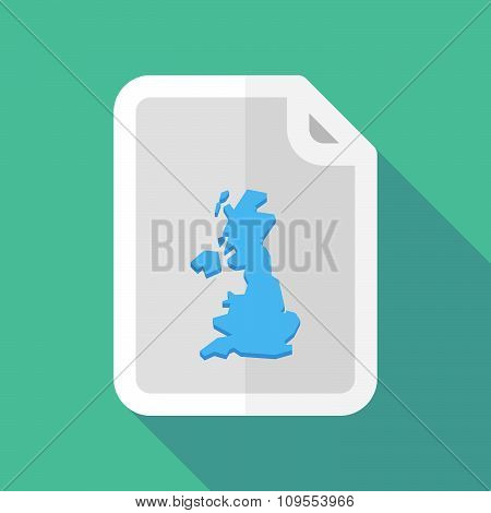 Long Shadow Document Vector Icon With  A Map Of The Uk