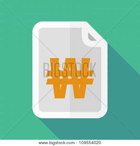 Long Shadow Document Vector Icon With A Won Currency Sign