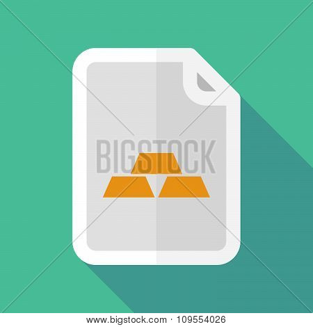 Long Shadow Document Vector Icon With Three Gold Bullions