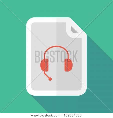Long Shadow Document Vector Icon With  A Hands Free Phone Device