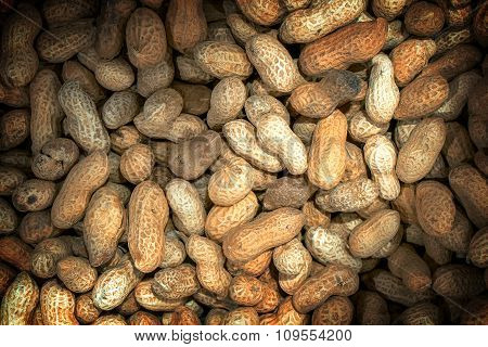 Roasted Peanuts Macro High Contrasted With Vignetting Effect Background