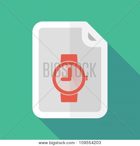 Long Shadow Document Vector Icon With A Wrist Watch
