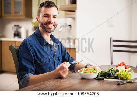 Enjoying A Healthy Salad At Home