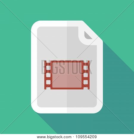 Long Shadow Document Vector Icon With A Film Photogram