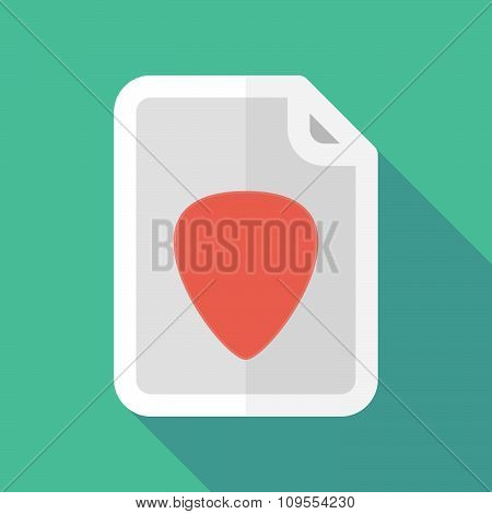 Long Shadow Document Vector Icon With A Plectrum