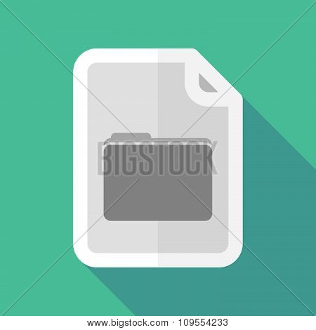 Long Shadow Document Vector Icon With A Folder