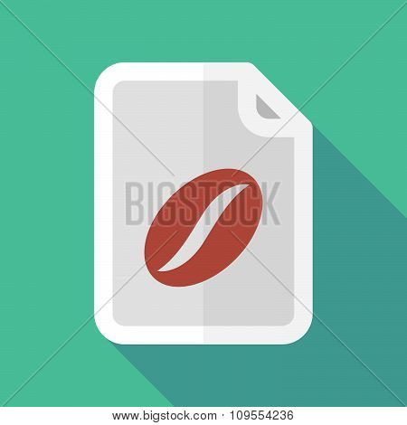 Long Shadow Document Vector Icon With A Coffee Bean
