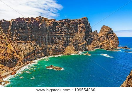 Wall Of Rock, Madeira, Bay At Ponta De Sao Lourenco