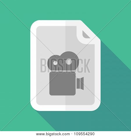 Long Shadow Document Vector Icon With A Film Camera