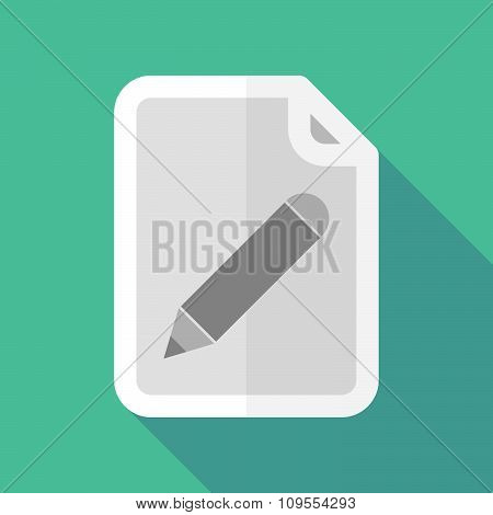 Long Shadow Document Vector Icon With A Pencil