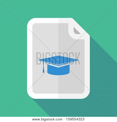 Long Shadow Document Vector Icon With A Graduation Cap
