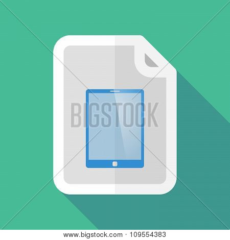 Long Shadow Document Vector Icon With A Tablet Computer