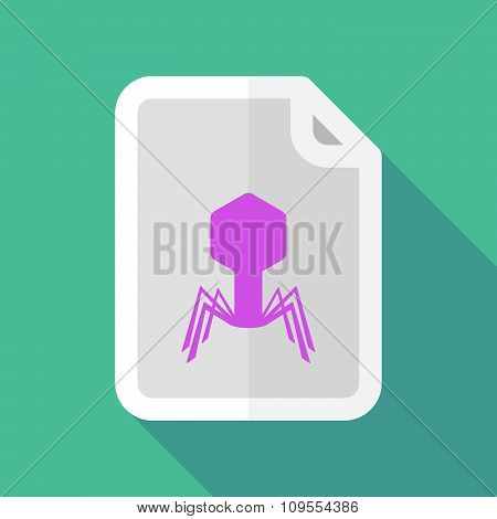Long Shadow Document Vector Icon With A Virus