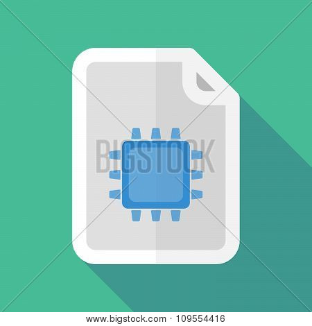 Long Shadow Document Vector Icon With A Cpu