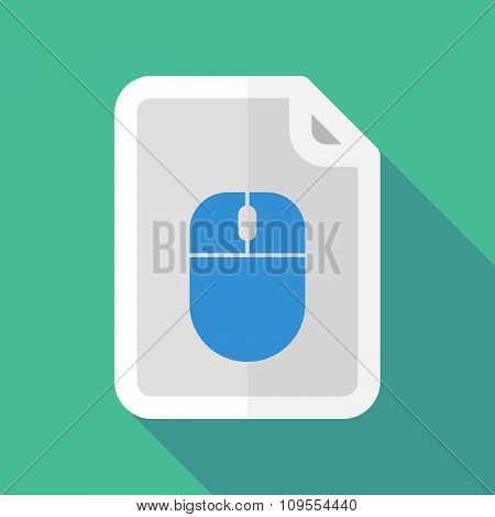 Long Shadow Document Vector Icon With A Wireless Mouse