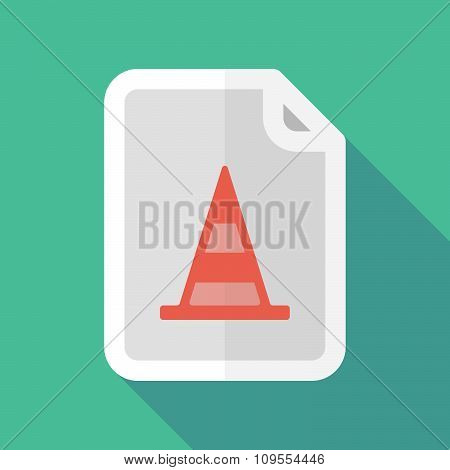 Long Shadow Document Vector Icon With A Road Cone