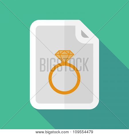 Long Shadow Document Vector Icon With An Engagement Ring