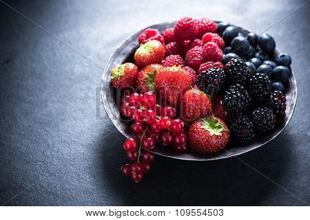 Fresh Berries In Bowl, Antioxidant Concept