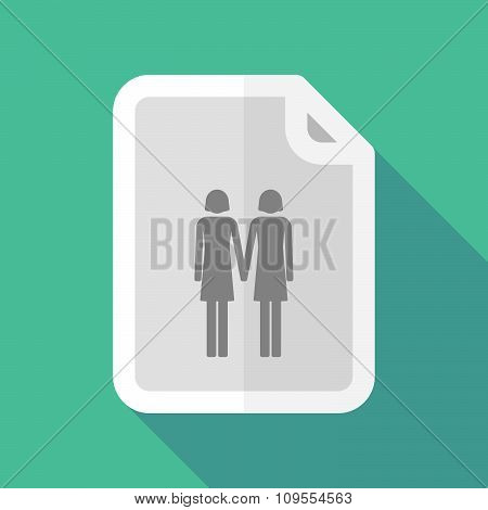 Long Shadow Document Vector Icon With A Lesbian Couple Pictogram