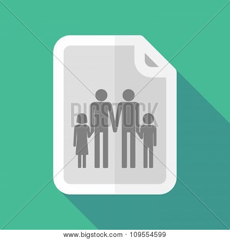 Long Shadow Document Vector Icon With A Gay Parents  Family Pictogram