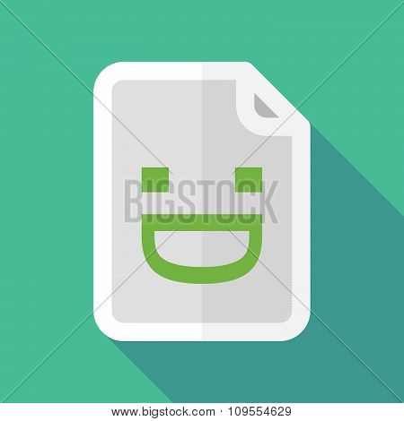 Long Shadow Document Vector Icon With A Laughing Text Face