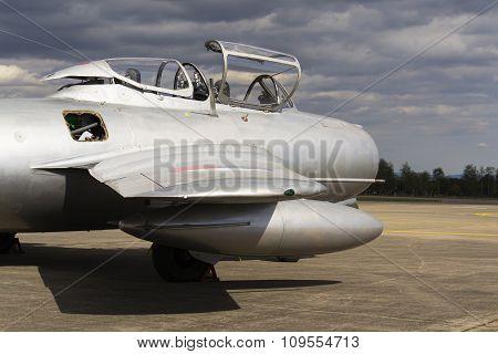 Hradec Kralove, Czech Republic - September 5: Jet Fighter Aircraft Mikoyan-gurevich Mig-15 Developed