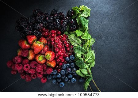 Grup Of Fresh Summer Berries Fruit With Mint