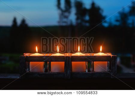 Candle Flame At Night