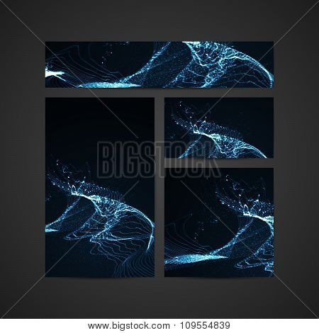 3D illuminated abstract digital wave