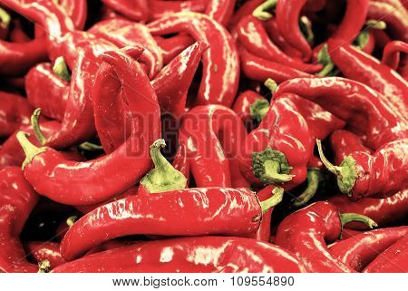 Red Chili Pepper Background Retro Filtered