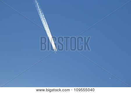 Contrails of a jet