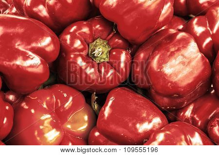 Red Bell Pepper Retro Styled Background Filtered