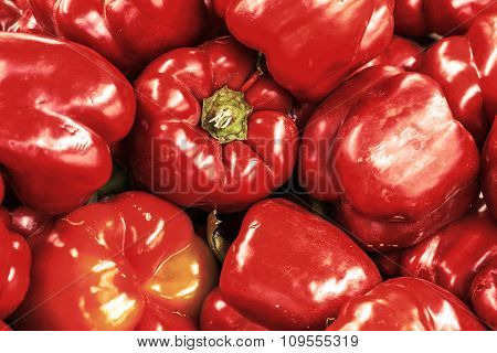 Red Bell Pepper Retro Styled Background
