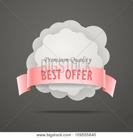 Abstract speech cloud with color ribbon. Template for a text