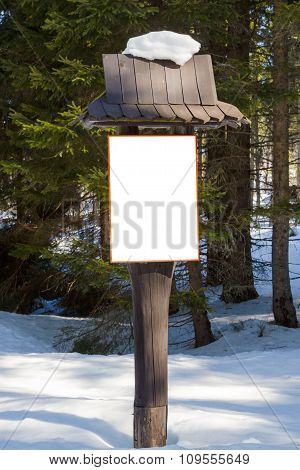 Information Signboard In The Winter Forest