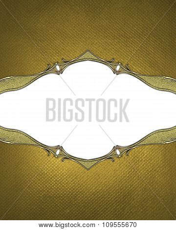 Gold Frame With A White Background. Element For Design. Template For Design. Copy Space For Ad Broch