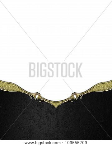 Black Plate With A Gold Ornament. Element For Design. Template For Design. Copy Space For Ad Brochur